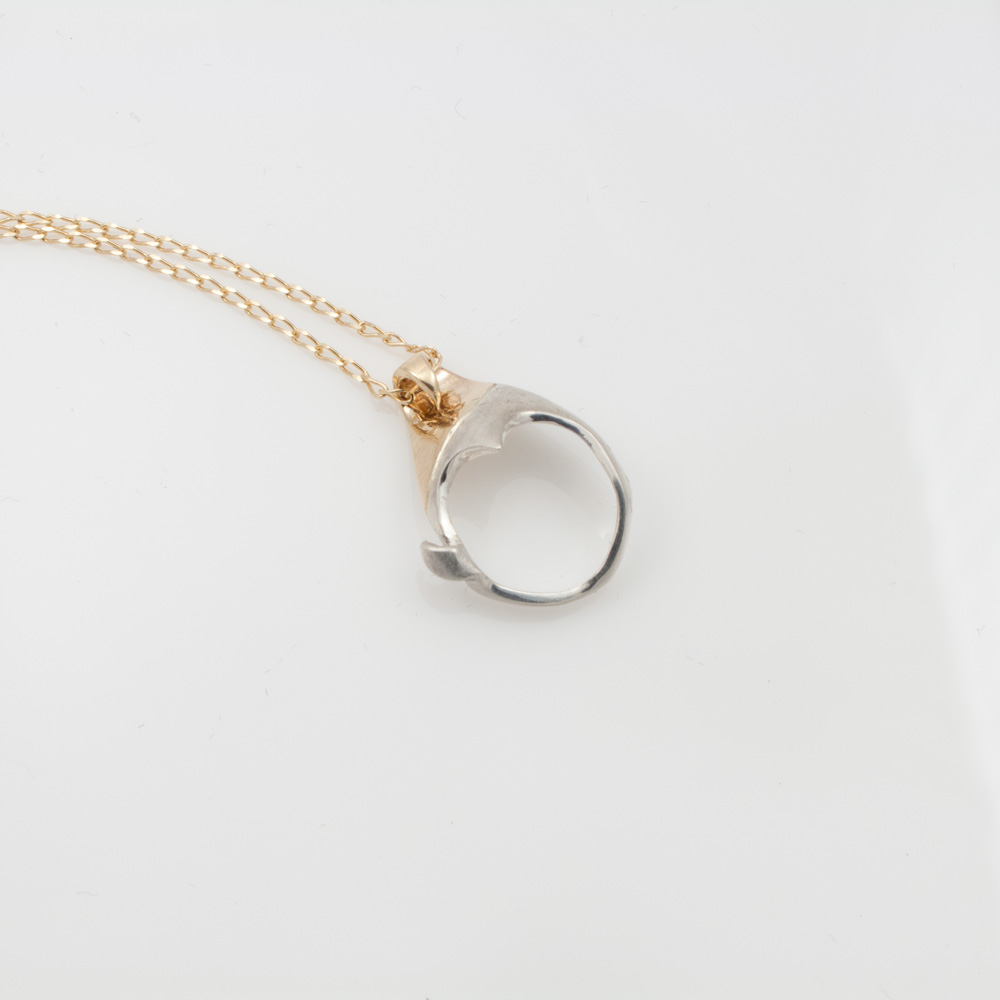 2 tone pendant, gold with silver, gold chain