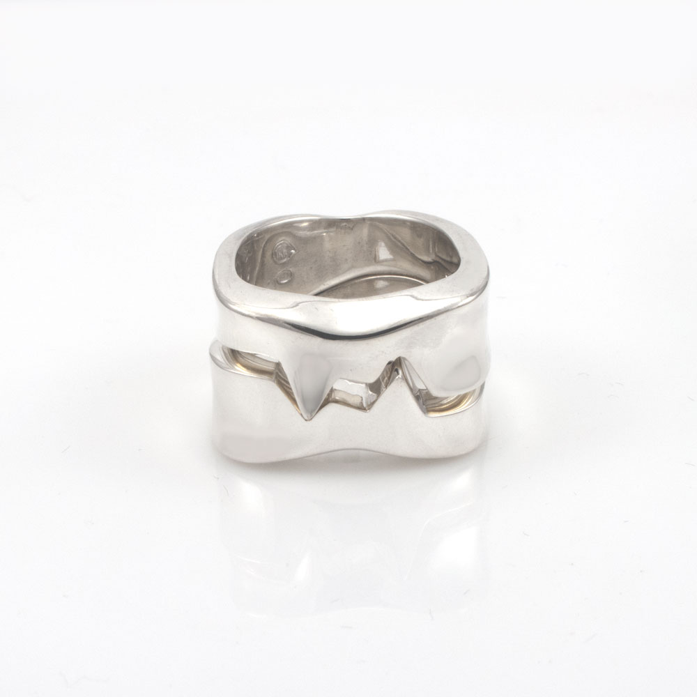 Shapeshifter ring, pair, sterling silver